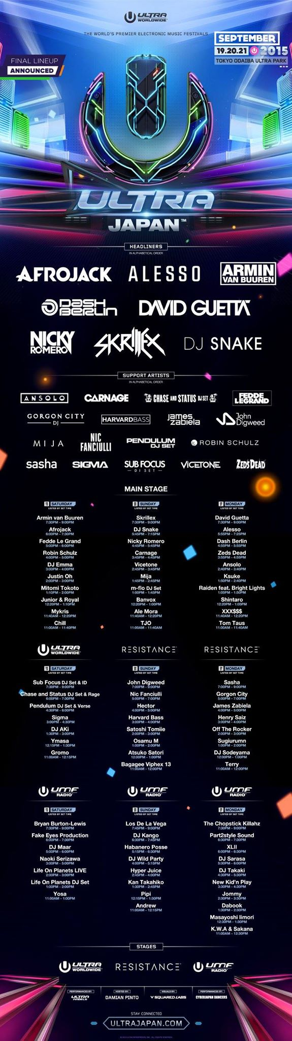 ULTRA JAPAN 2015 TIMETABLE