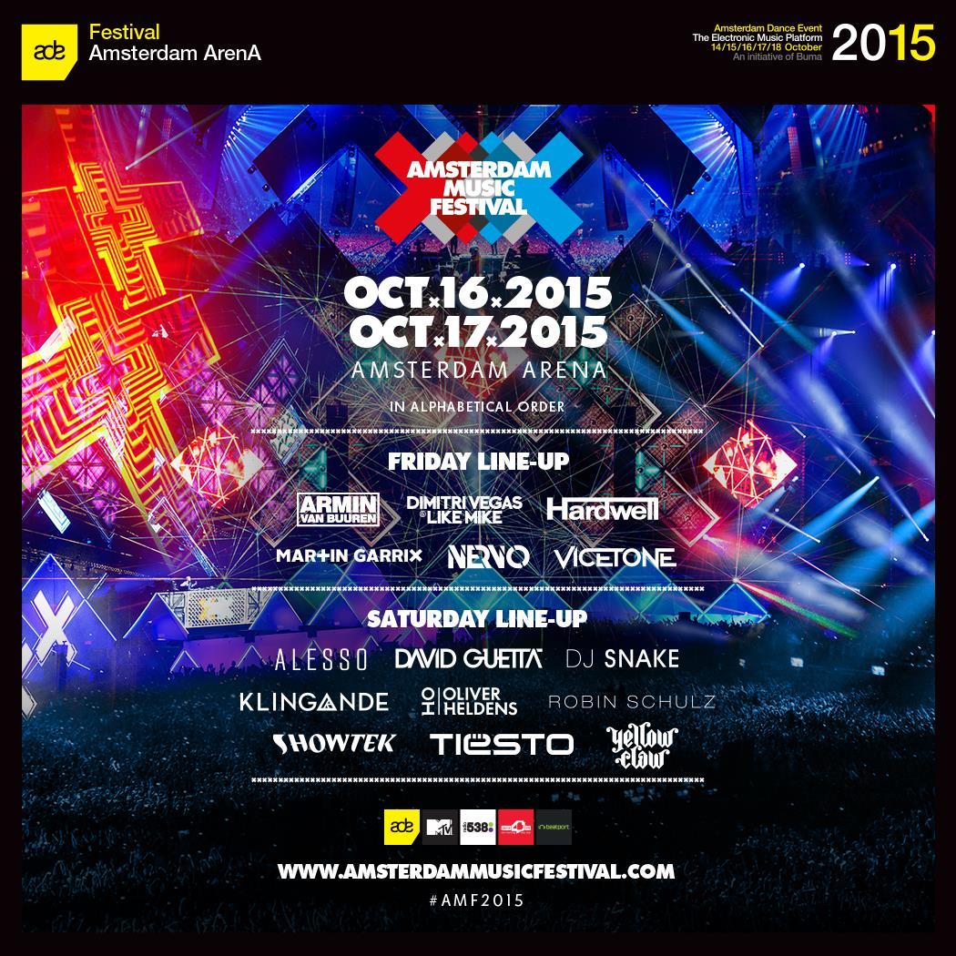 Amsterdam Music Festival 2015 line up