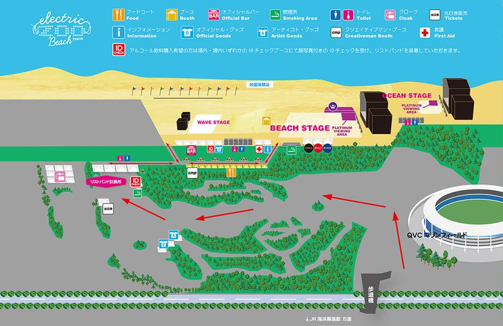 Electric Zoo Beach Tokyo 2016 map