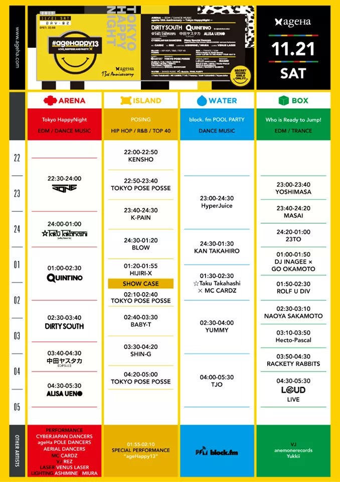 ageHa 13th Anniversary Party Timetable