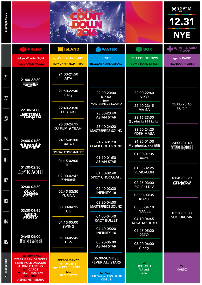 ageHa COUNTDOWN 2016 timetable