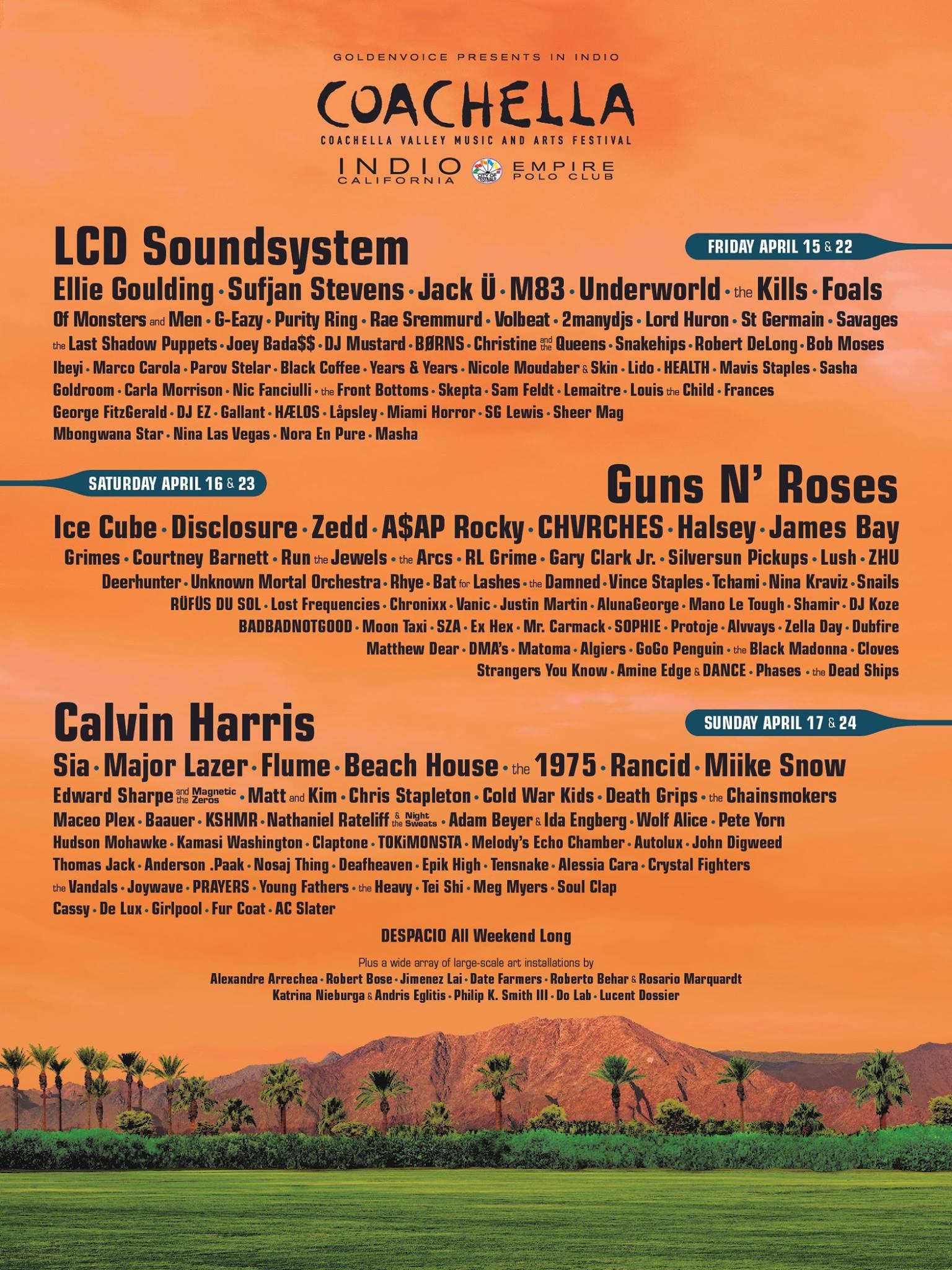Coachella 2016 line up