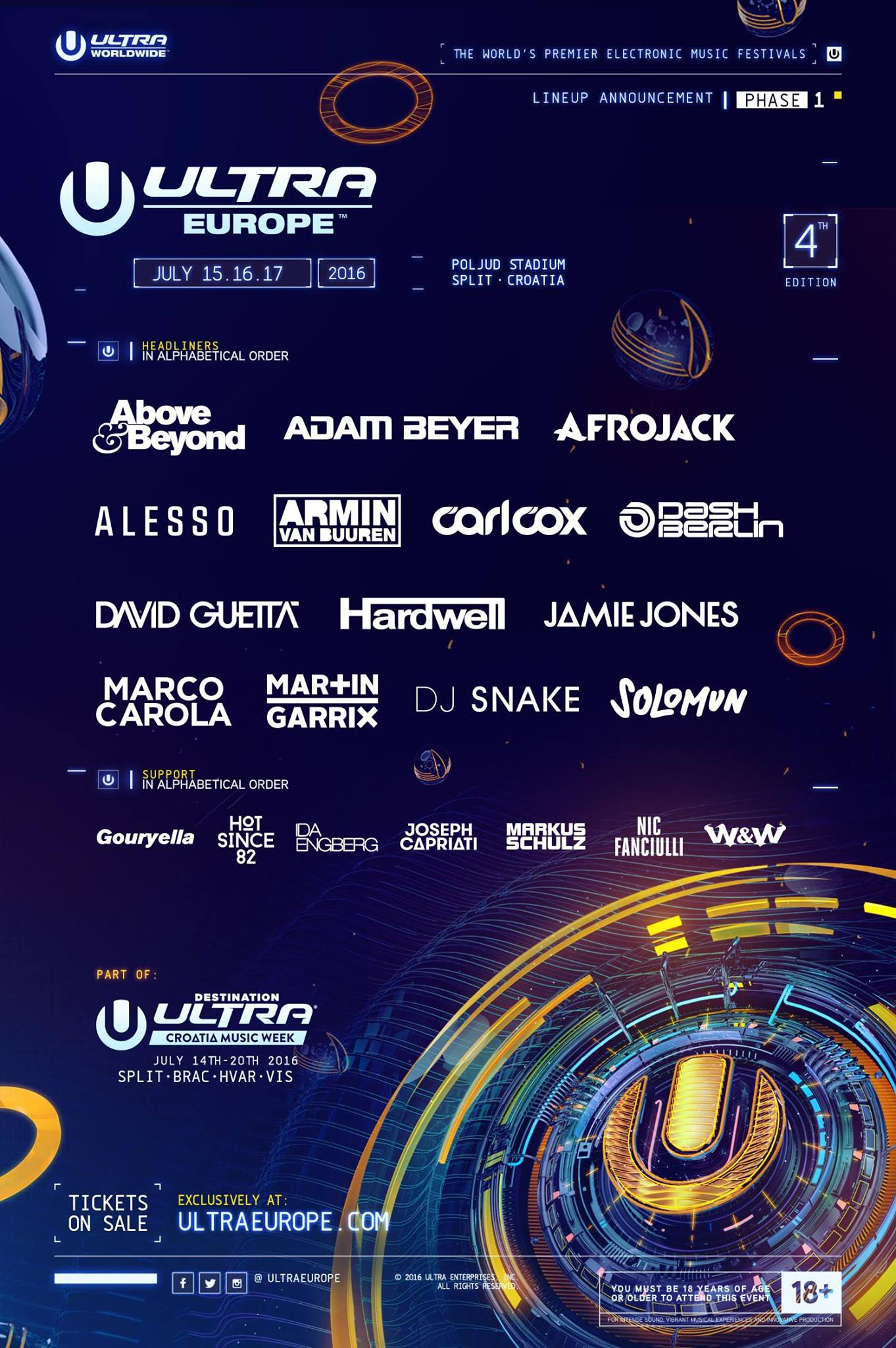 Ultra Europe 2016 first lineup