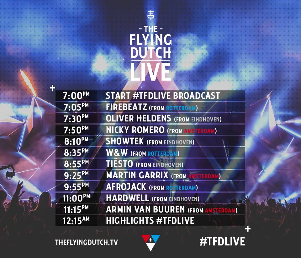 The Flying Dutch 2016 timetable