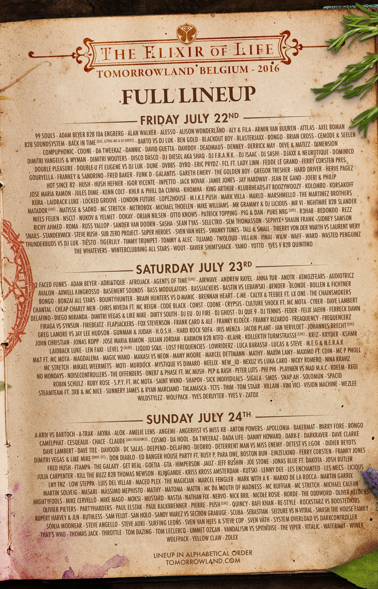 Tomorrowland 2016 full lineup
