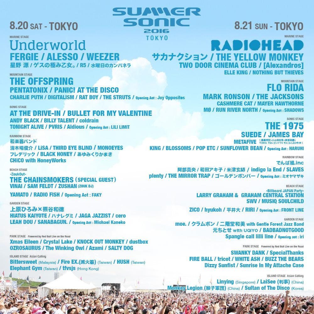 SUMMER SONIC 2016 TOKYO LINEUP