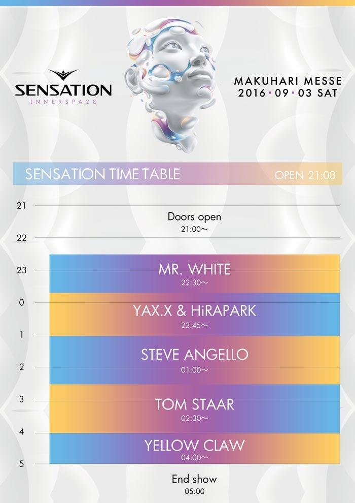 SENSATION 2016 TIMETABLE